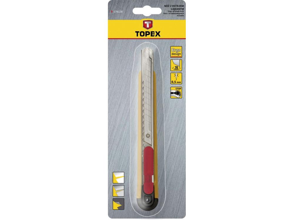 Nóż z ostrzem łamanym - Topex - 9 mm