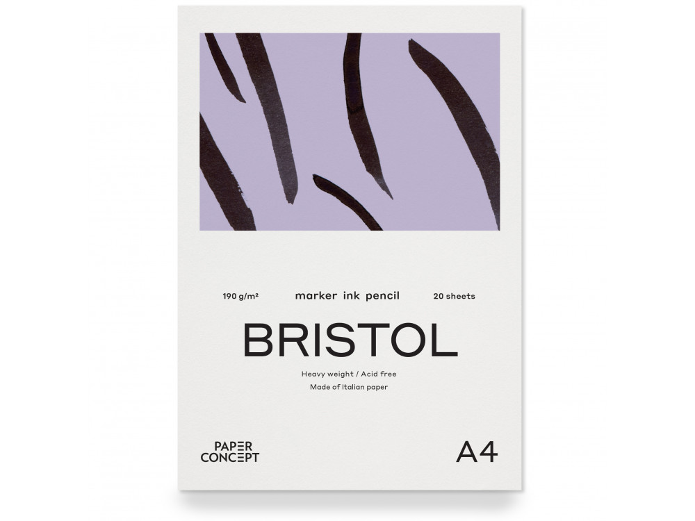 Blok do kredek i tuszy Bristol - PaperConcept - smooth, A4, 190 g, 20 ark.