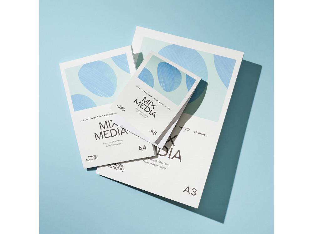Blok uniwersalny Mix Media - PaperConcept - medium grain, A4, 250 g, 25 ark.