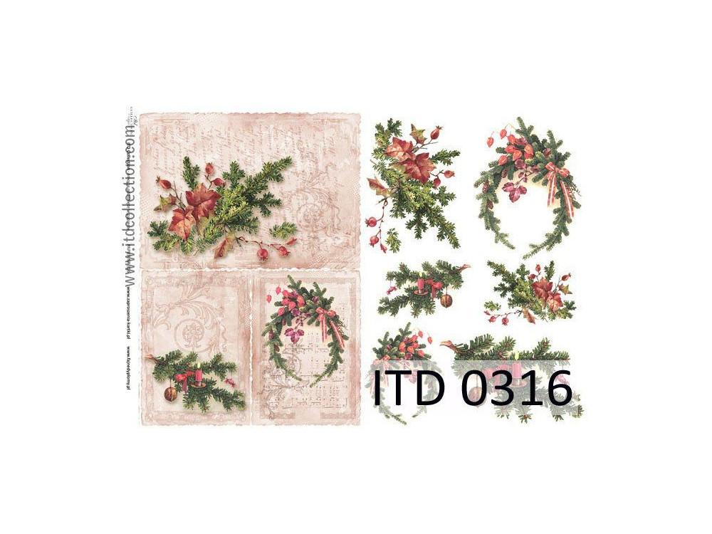 Papier do decoupage A4 - ITD Collection - klasyczny, 0316