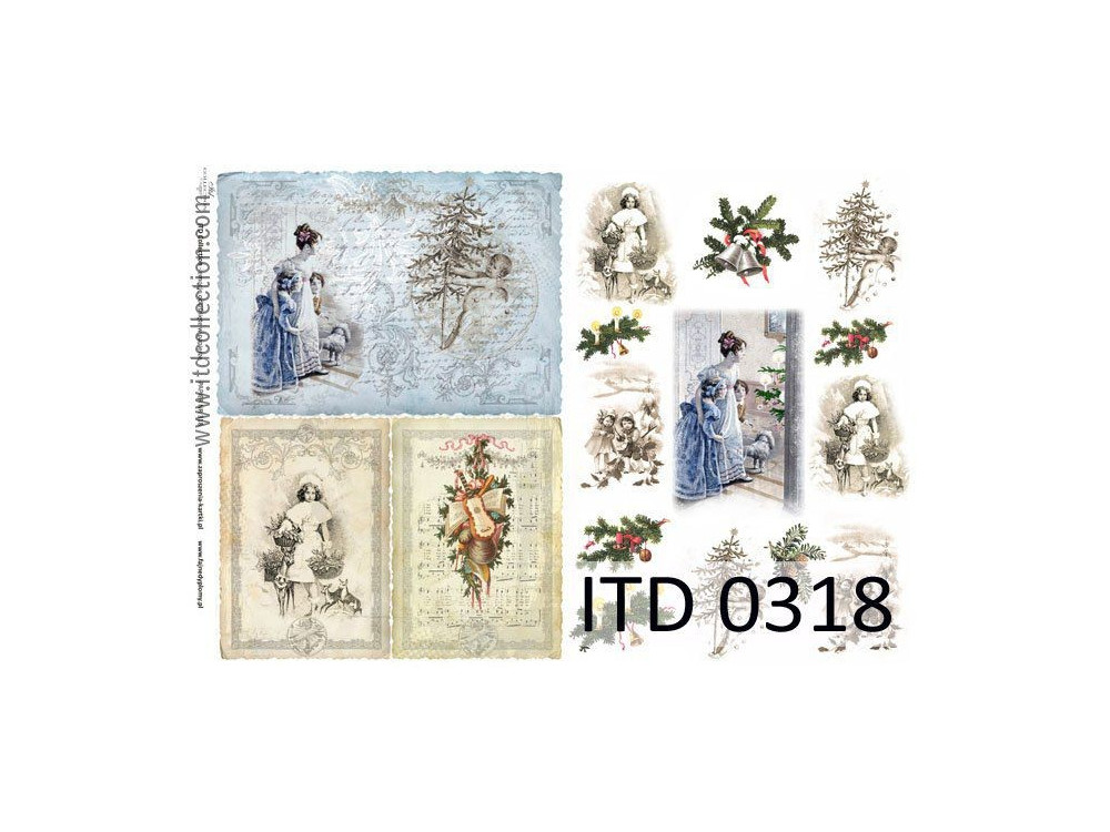 Papier do decoupage A4 - ITD Collection - klasyczny, 0318