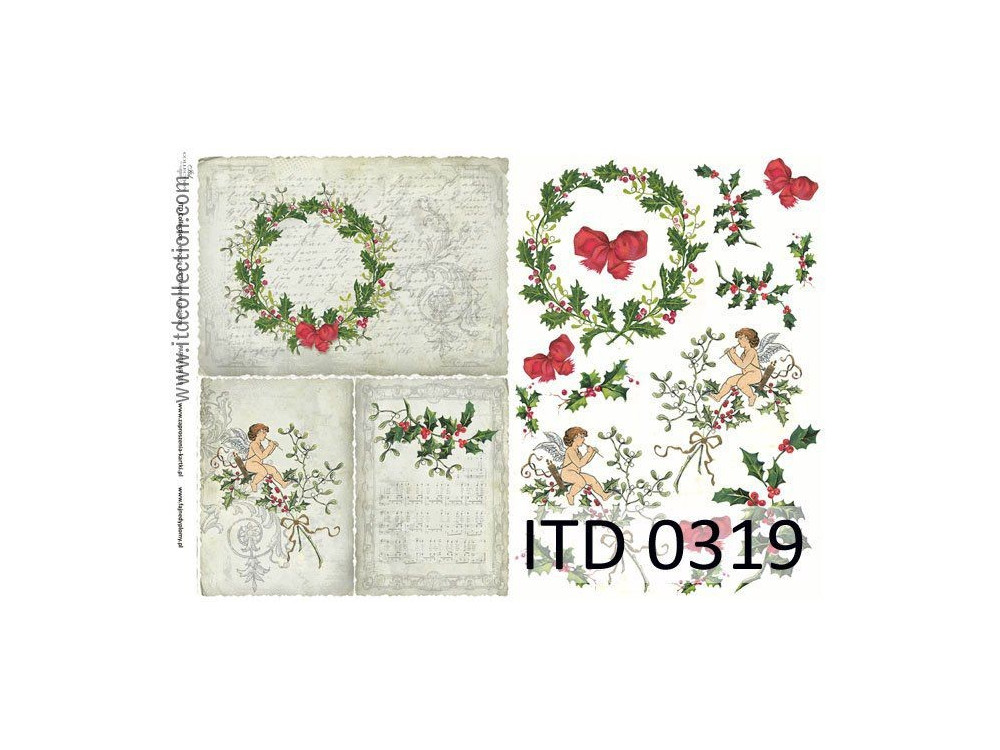 Papier do decoupage A4 - ITD Collection - klasyczny, 0319