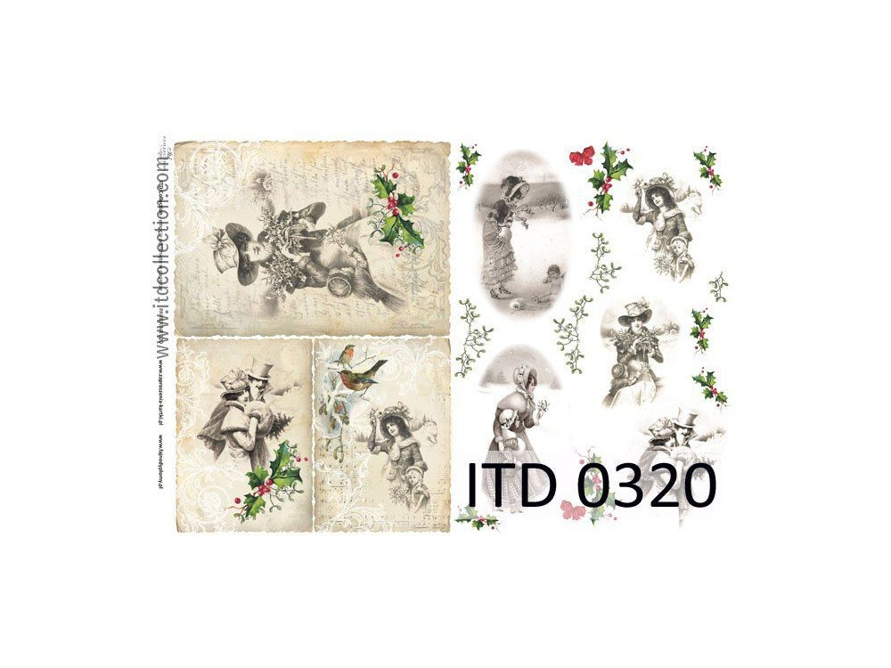 Papier do decoupage A4 - ITD Collection - klasyczny, 0320