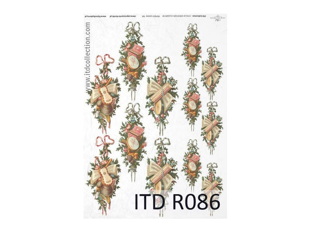 Papier do decoupage A4 - ITD Collection - ryżowy, R086