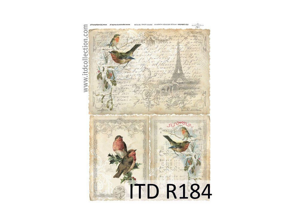 Papier do decoupage A4 - ITD Collection - ryżowy, R184