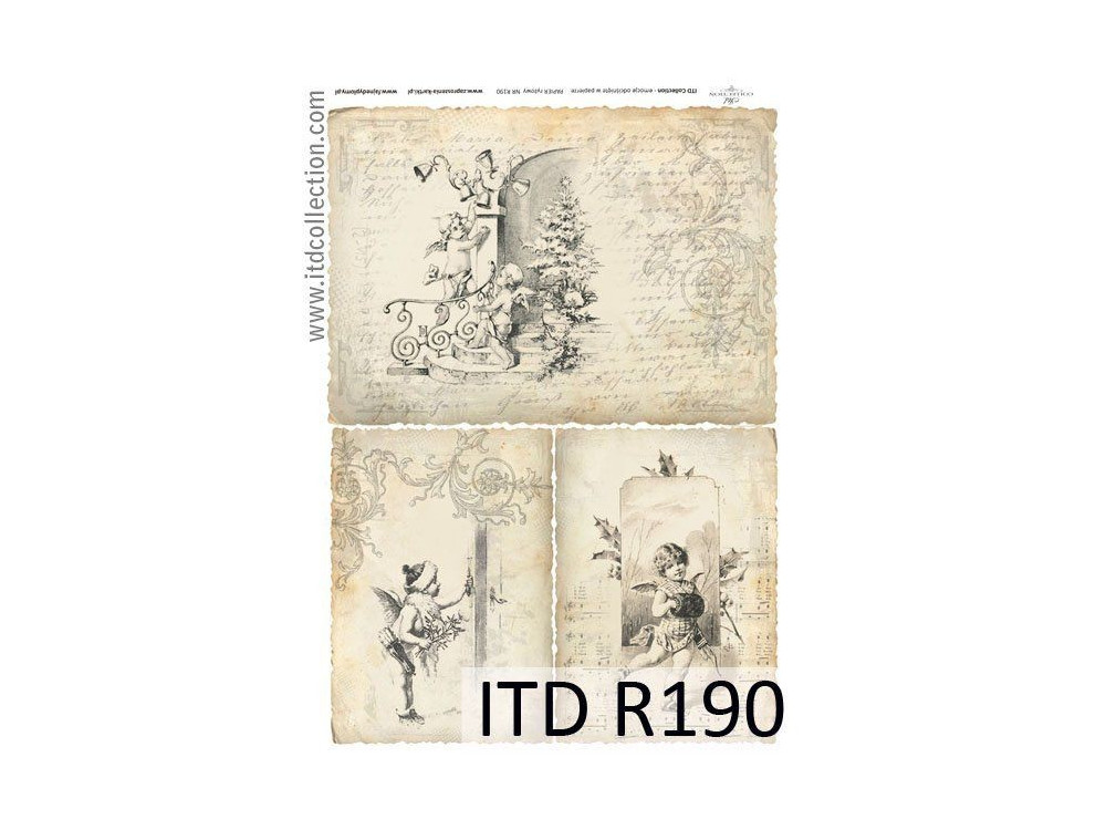 Papier do decoupage A4 - ITD Collection - ryżowy, R190