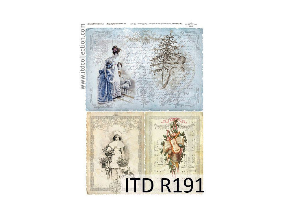 Papier do decoupage A4 - ITD Collection - ryżowy, R191