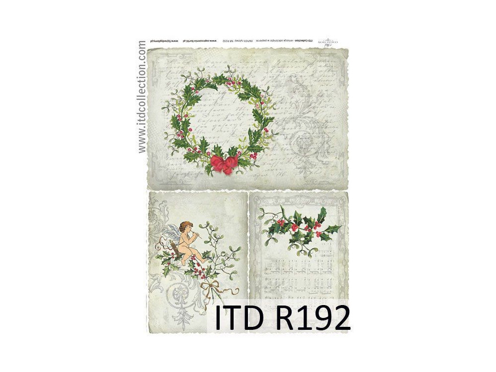 Papier do decoupage A4 - ITD Collection - ryżowy, R192