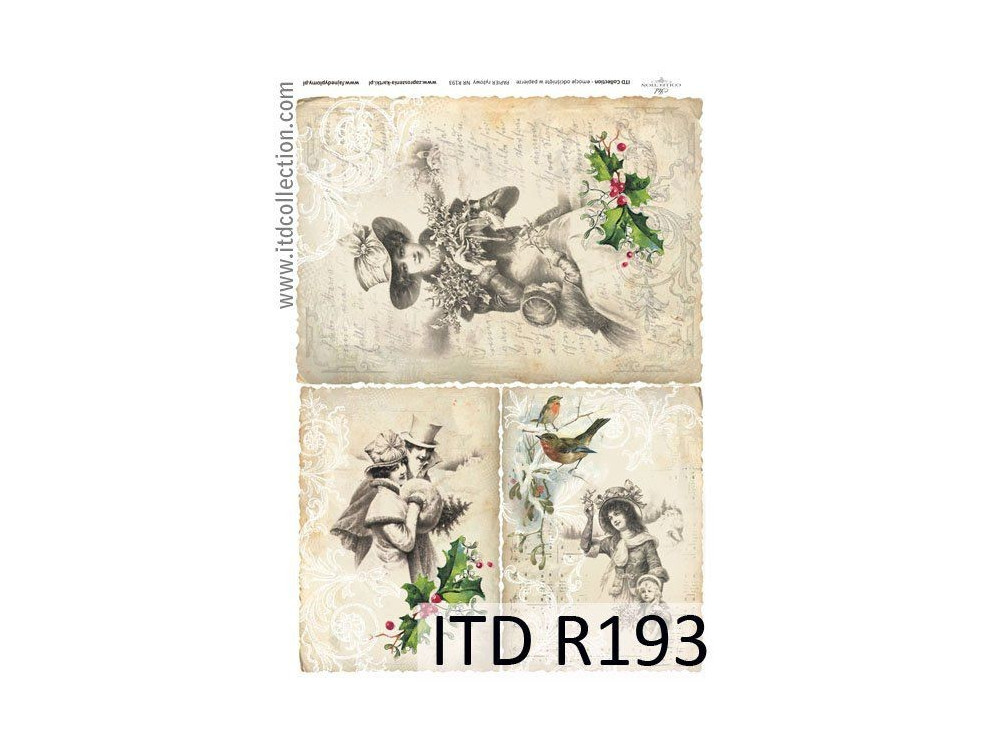 Papier do decoupage A4 - ITD Collection - ryżowy, R193