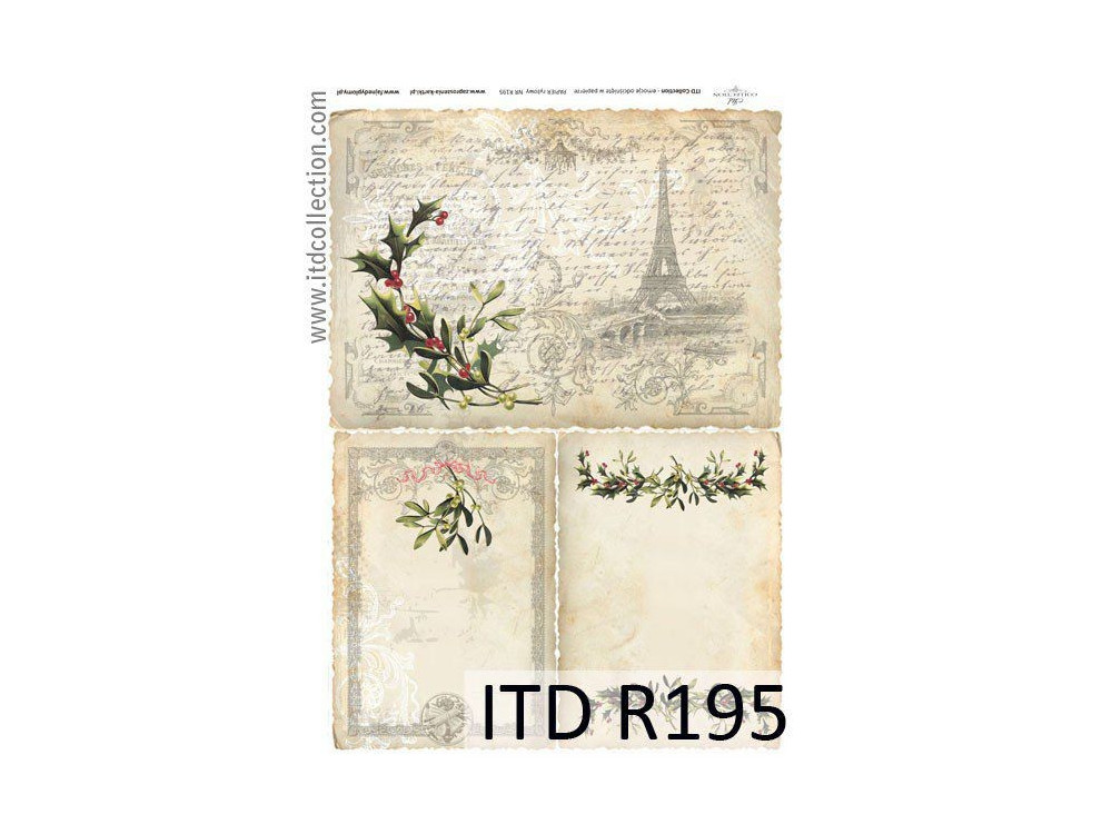 Papier do decoupage A4 - ITD Collection - ryżowy, R195