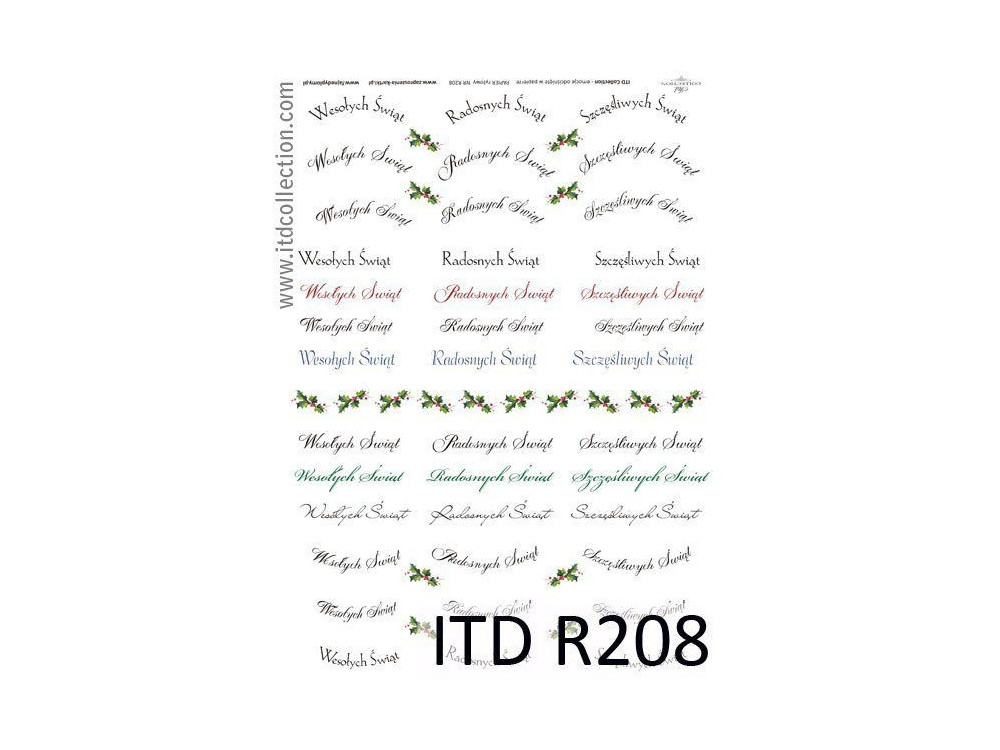 Papier do decoupage A4 - ITD Collection - ryżowy, R208