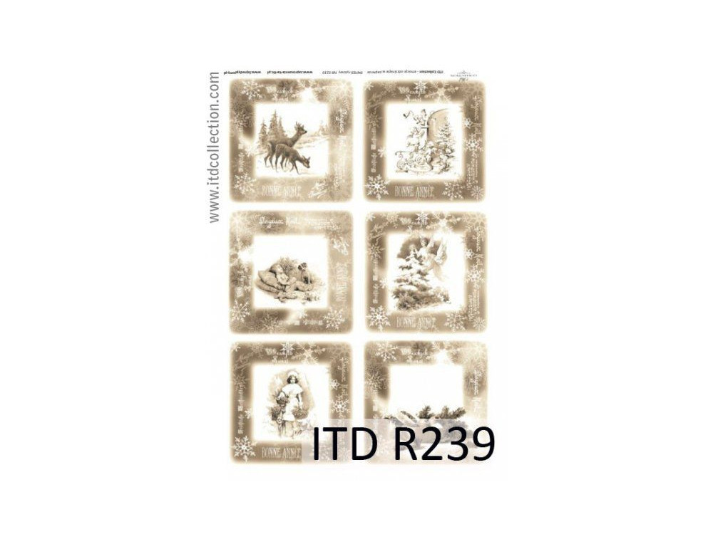 Papier do decoupage A4 - ITD Collection - ryżowy, R239