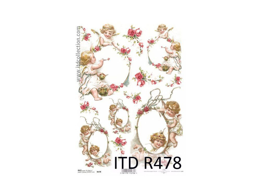 Papier do decoupage A4 - ITD - ryżowy, R478
