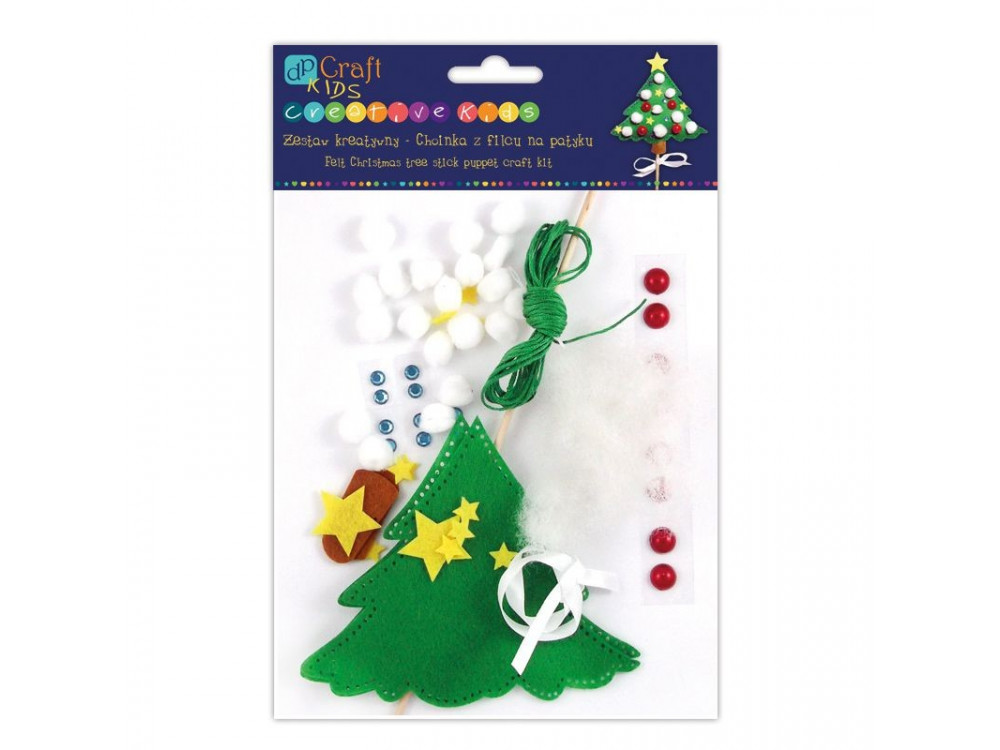 FELT CHRISTMAS TREE STICK PUPPET CRAFT KIT