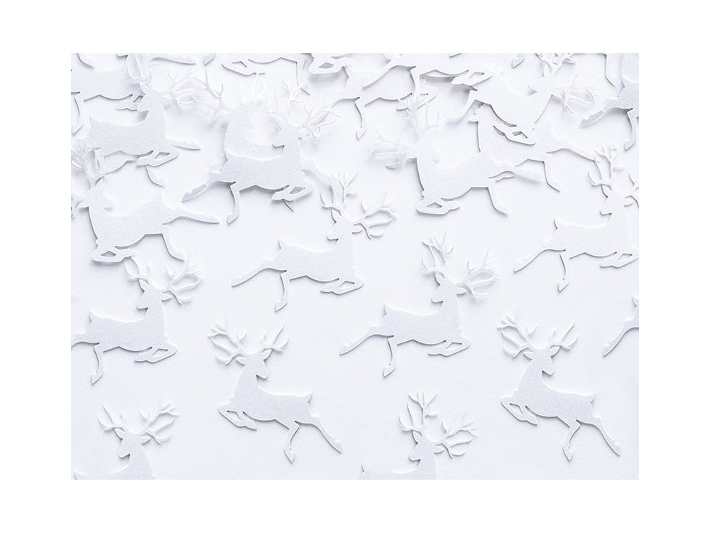 Decorative Confetti Reindeer - white, 20 pcs.