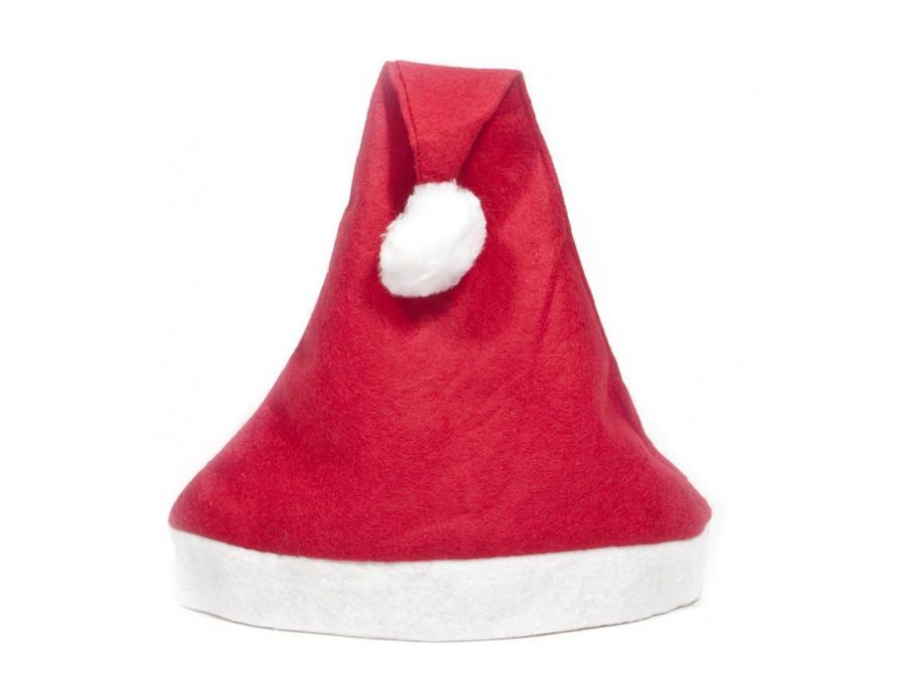 Czapka świętego Mikołaja z pomponem - czerwona
