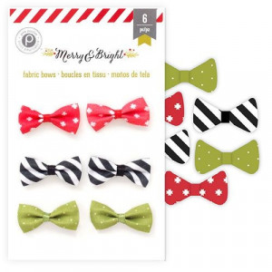 Kokardki Merry and Bright Collection - Fabric Bows 6 szt.