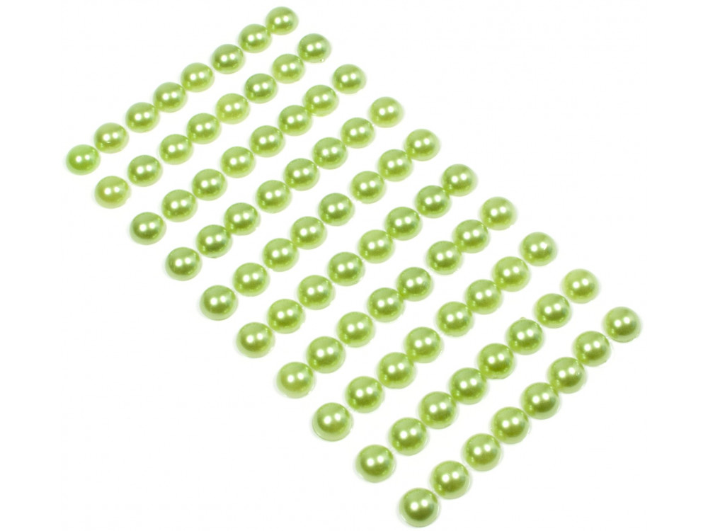 Perły samoprzylepne 10 mm - zielone, 80 szt.