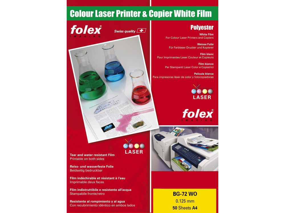 White film 50 sheets A4 Folex BG-72 WO