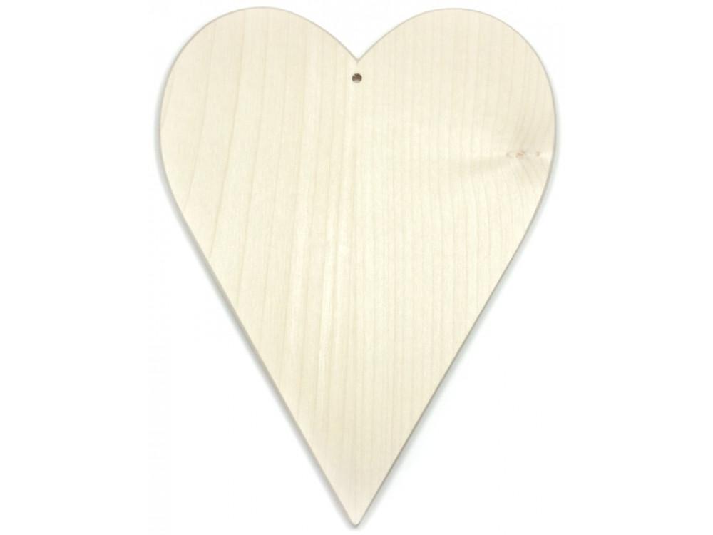 Serce podłużne drewniane 25 cm
