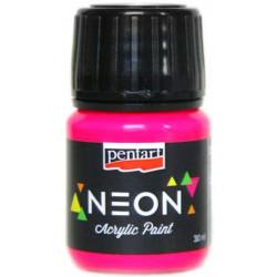 Farba akrylowa, neonowa - Pentart - różowa, 30 ml