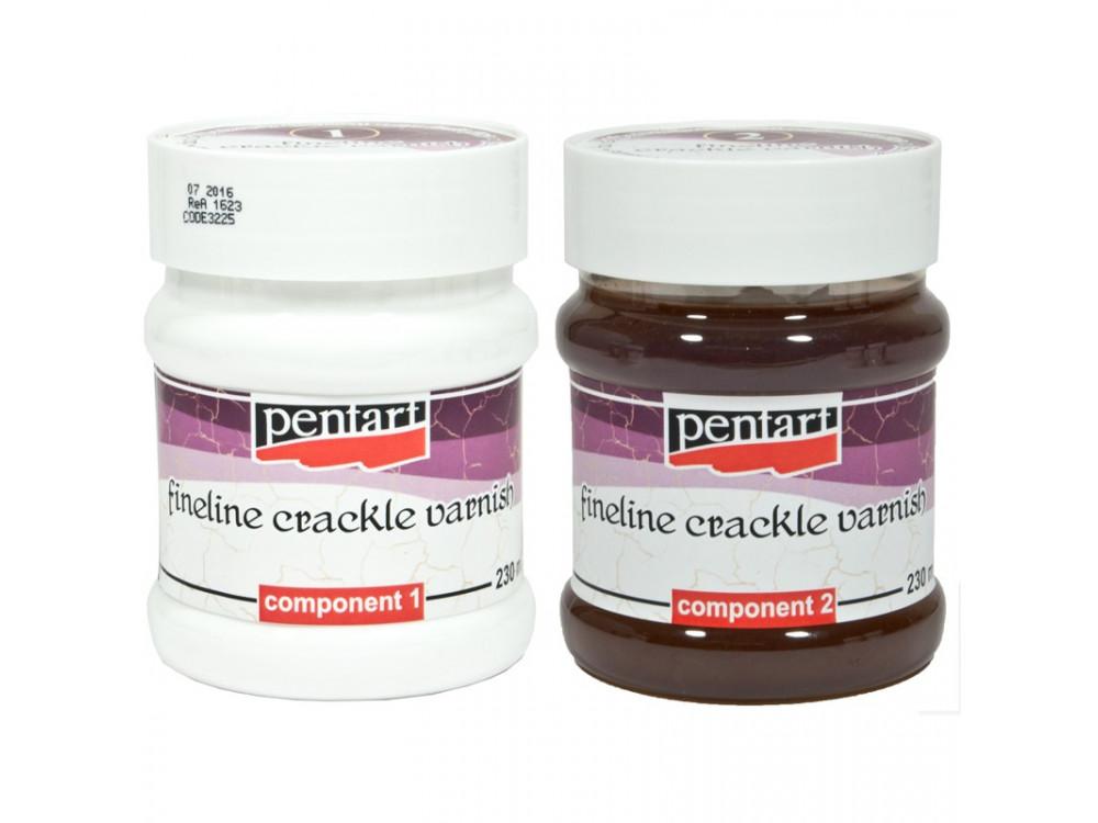 Fineline crackle varnish - Pentart - two components, 2 x 230 ml