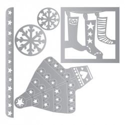 Zestaw wykrojników Thinlits - Sizzix - Christmas Trims, 4 szt.