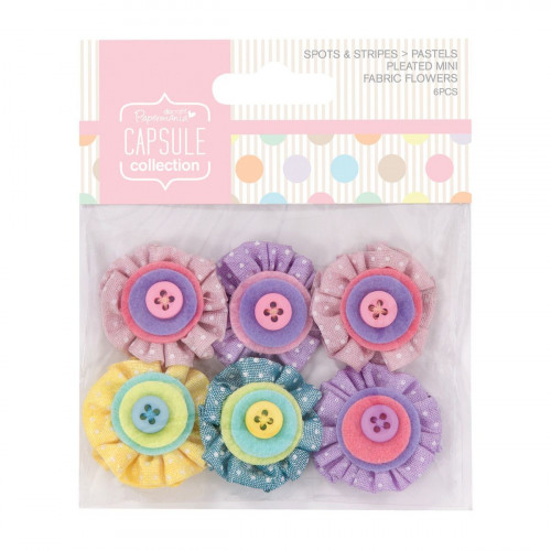 Mini Fabric Flowers - Capsule - Spots & Stripes - Pastels, 6 pcs