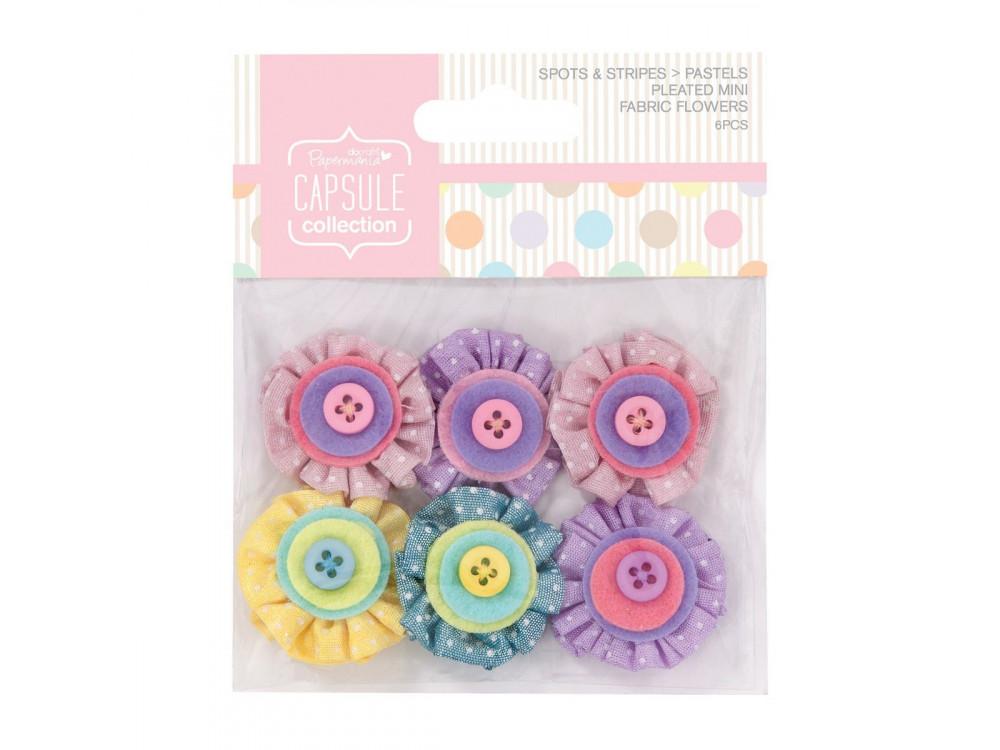 Mini kwiatki z tkaniny Spots & Stripes - pastelowe, 6 szt.