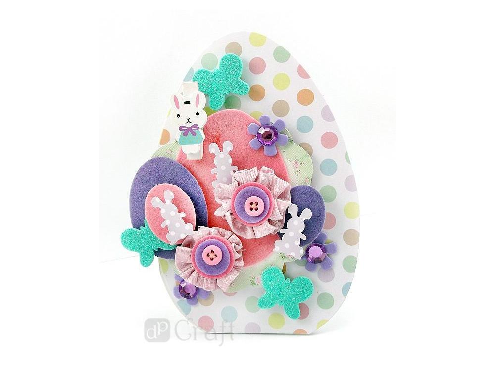 Mini Fabric Flowers - Capsule - Spots & Stripes - Pastels, 6 pcs