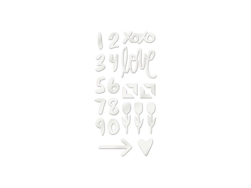 Zestaw wypukłych naklejek akrylowych - We R - Love Notes, 22 szt.