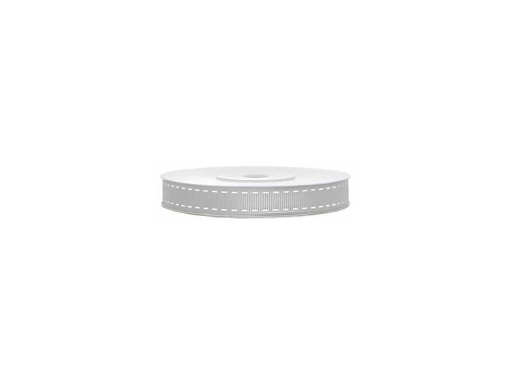 Tasiemka rypsowa z przeszyciami - srebrna, 15 mm 25 m