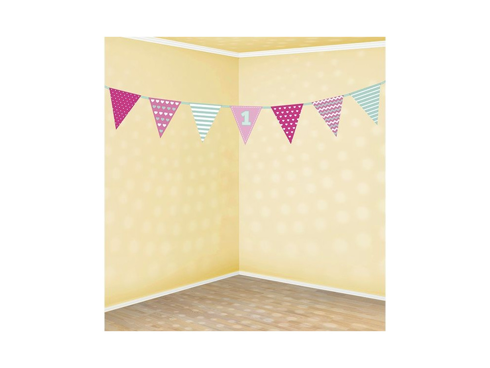 Paper garland First Birthday - pink and mint, 135 cm