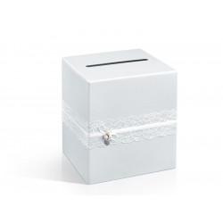 Pudełko na koperty i życzenia ślubne - białe perłowe