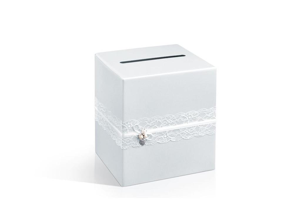 Wedding card box, 24 x 24 x 24cm, 1pc, pearl white