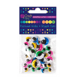 ADHESIVE ASSORTED COLOUR WIGGLE EYES WITH EYELASHES, 36 PCS