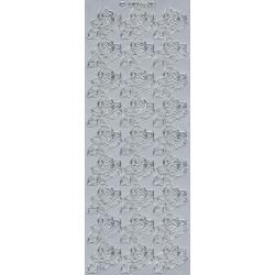 Stickersy, naklejki ażurowe - Róże, srebrne