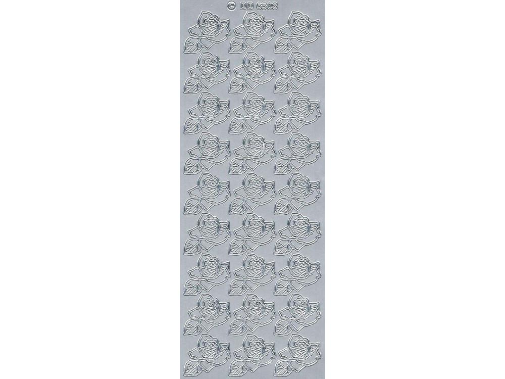 Stickersy - Róże 6503 srebrny