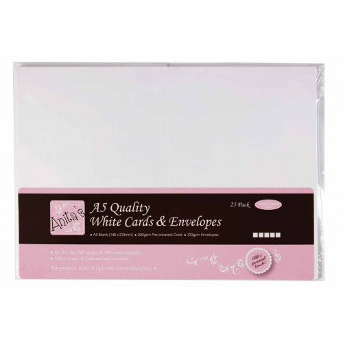 A5 Cards & Envelopes Set - Anita's - White, 25 pcs