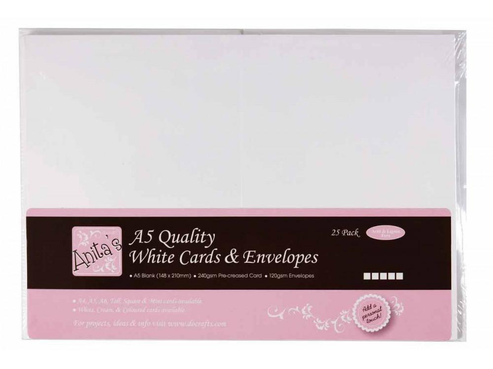 A5 Cards & Envelopes Set - Anita's - White, 25 pcs