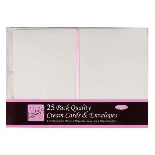 A5 Cards & Envelopes Set - Anita's - Cream, 25 pcs
