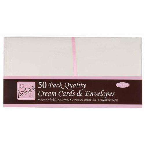 Zestaw kopert i kart kwadratowe - Anita's - kremowe, 50 szt.