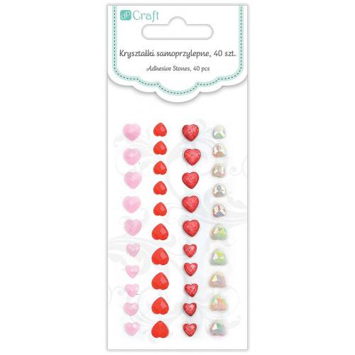 Kryształki serduszka samoprzylepne, 40 szt. Candy Kisses