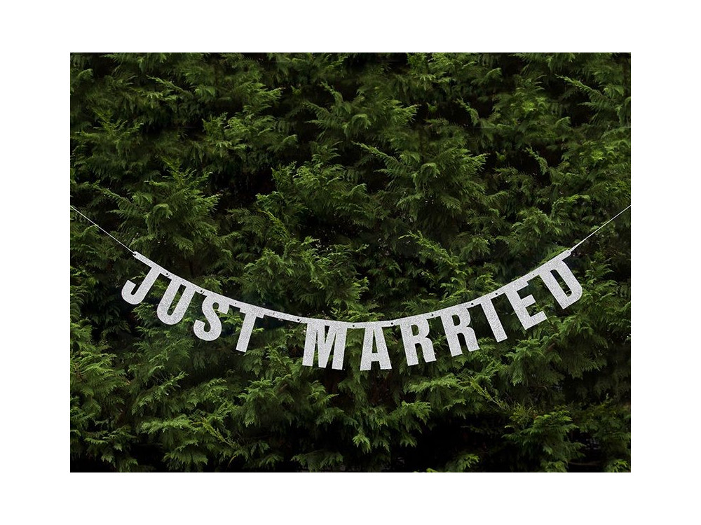 Banner Just Married - silver, 18 x 170 cm
