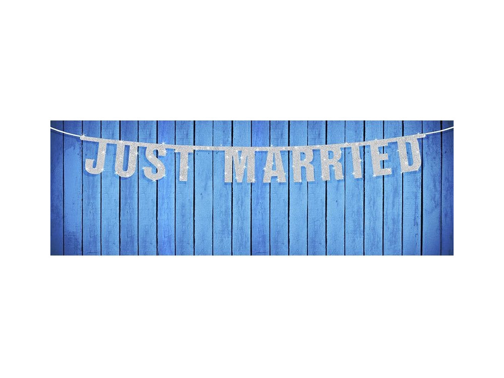 Baner weselny Just Married - srebrny, 18 x 170 cm