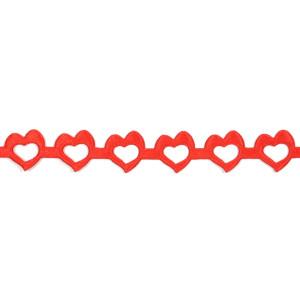 Wstążka w serca 14 mm, 9 m czerwona