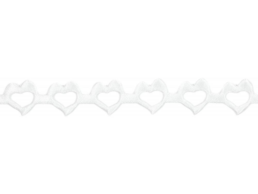 Aplikacje serca 14 mm, 9 m białe
