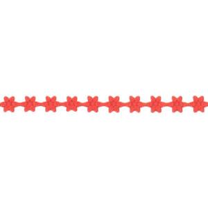 Wstążka w kwiatki 7 mm, 9 m czerwona