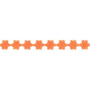 Wstążka w kwiatki 11 mm, 9 m pomarańczowa