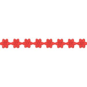 Wstążka w kwiatki 11 mm, 9 m czerwona